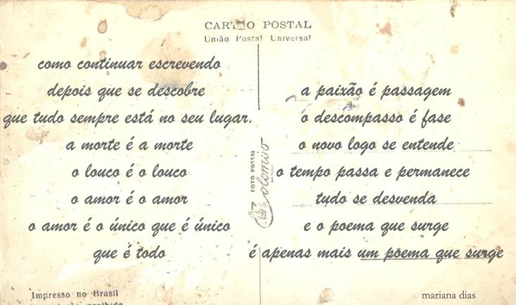 Cartão Postal Toda Feita Com As Mãos A Poesia Se Descreve